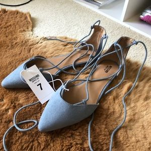 NWT Mossimo Pointed Toe Lace Up Ballet Flats 7
